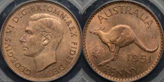 Australia 1951 pl penny 1d GEM Uncirculated PCGS MS65rb