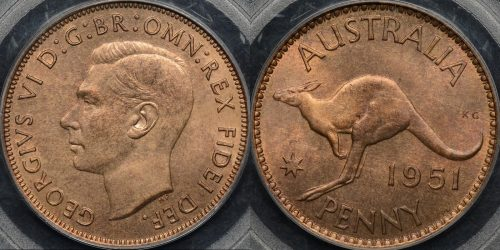 Australia 1951 pl penny 1d GEM Uncirculated PCGS MS65rb