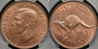 Australia 1951m penny 1d Choice Uncirculated PCGS MS64rb