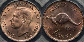 Australia 1951m penny 1d GEM Uncirculated PCGS MS65rb
