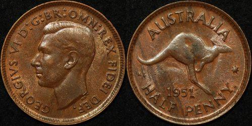 Australia 1951y half penny 1 2d obverse 5