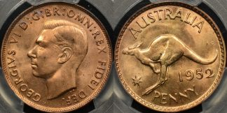 Australia 1952m penny 1d Choice Uncirculated PCGS MS64rd red