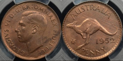 Australia 1952m penny 1d GEM Uncirculated PCGS MS64rb