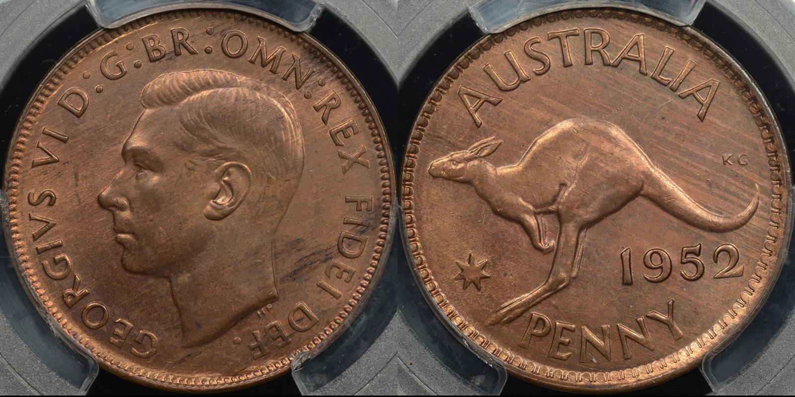 Australia 1952m penny 1d GEM Uncirculated PCGS MS64rb