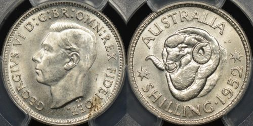 Australia 1952m shilling 1s Choice Uncirculated PCGS MS64