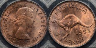 Australia 1953m penny 1d Choice Uncirculated PCGS MS64rb
