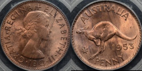 Australia 1953m penny 1d Choice Uncirculated PCGS MS64rb