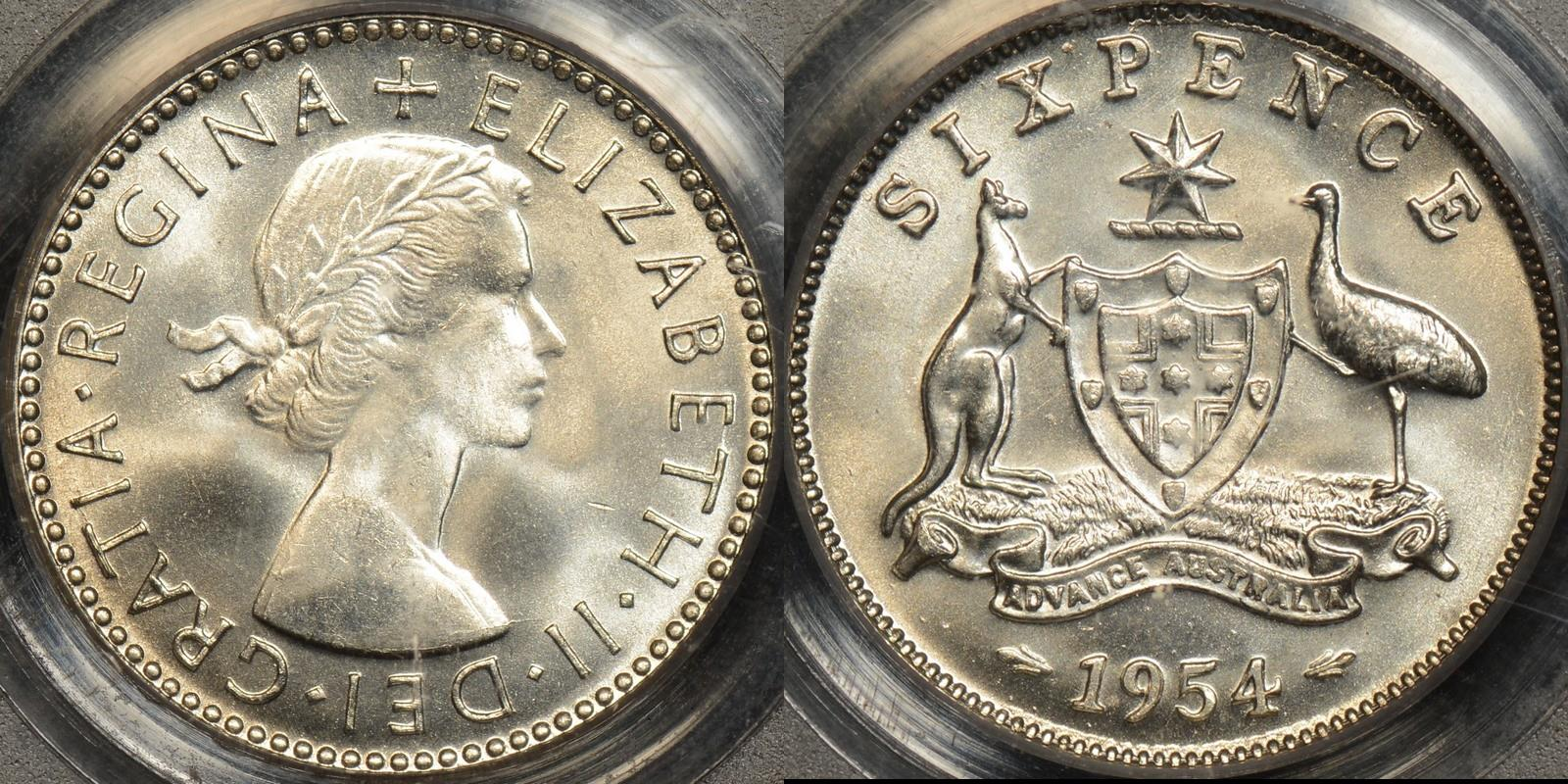 Australia 1954 sixpence 6d GEM Uncirculated PCGS MS65