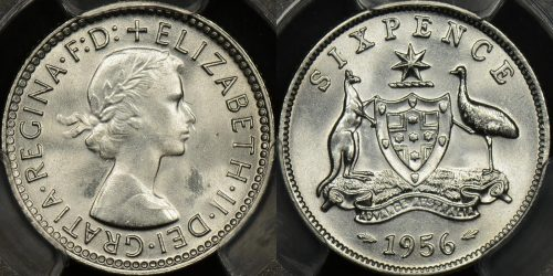 Australia 1956 sixpence 6d Choice Uncirculated PCGS MS64