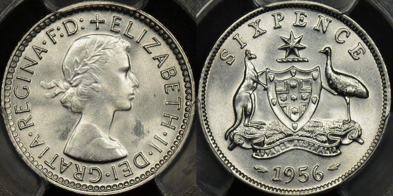 Australia 1956 sixpence 6d Choice Uncirculated PCGS MS64