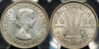 Australia 1956m threepence 3d proof PCGS PR67