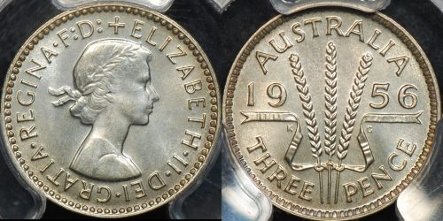 Australia 1956m threepence 3d proof PCGS PR67