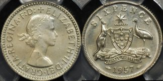 Australia 1957m sixpence 6d proof PCGS PR65