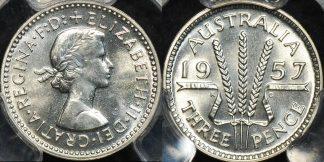 Australia 1957m threepence 3d proof PCGS PR66