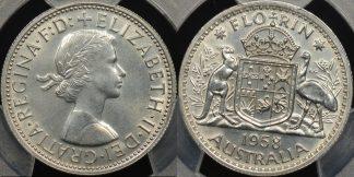 Australia 1958m florin 2s proof PCGS PR64