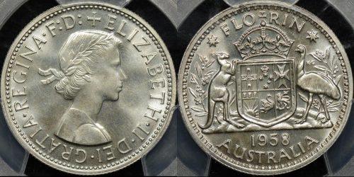 Australia 1958m florin 2s proof PCGS PR65