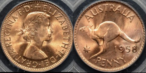 Australia 1958m penny 1d Choice Uncirculated PCGS MS64rd red