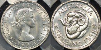 Australia 1958m shilling 1s proof PCGS PR66