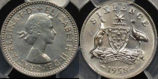 Australia 1958m sixpence 6d proof PCGS PR63
