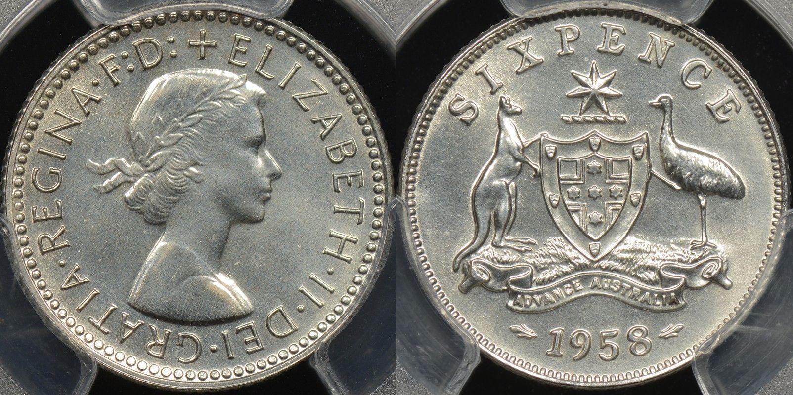 Australia 1958m sixpence 6d proof PCGS PR64