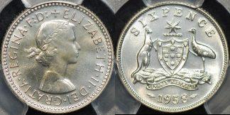 Australia 1958m sixpence 6d proof PCGS PR66
