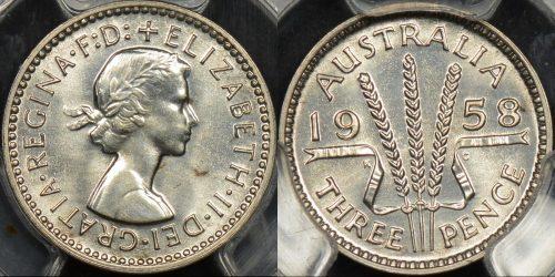 Australia 1958m threepence 3d proof PCGS PR65