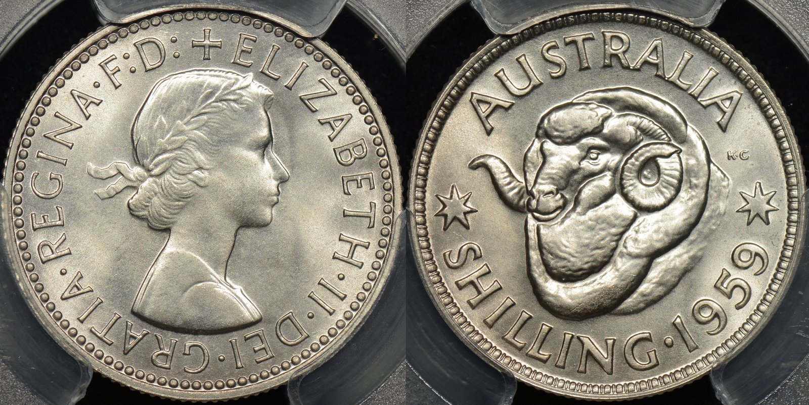 AUSTRALIA 1959 QUEEN ELIZABETH II SILVER One Shilling 1// COIN