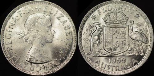 Australia 1959 2s obverse planchet flaw error