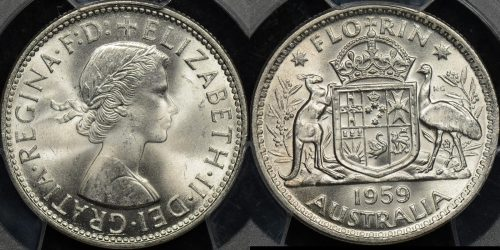 Australia 1959 florin 2s GEM Uncirculated PCGS MS64