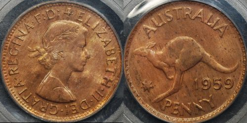 Australia 1959m penny 1d Choice Uncirculated PCGS MS64rb