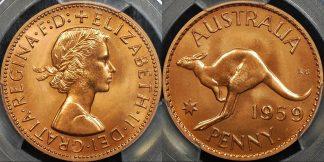Australia 1959y penny 1d proof PCGS PR66rd red