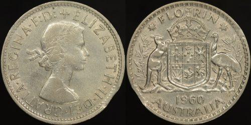 Australia 1960 2s clipped planchet error 2