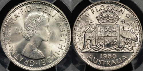 Australia 1960 florin 2s Choice Uncirculated PCGS MS64
