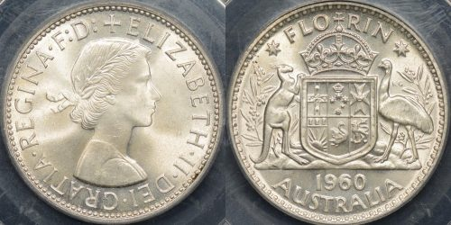 Australia 1960 florin 2s GEM Uncirculated PCGS MS65