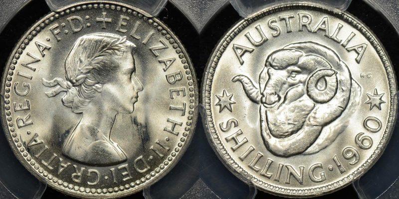 Australia 1960 shilling 1s GEM Uncirculated PCGS MS66