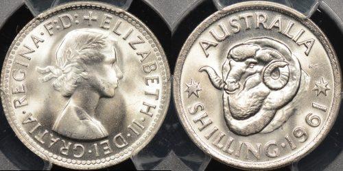 Australia 1961 shilling 1s GEM Uncirculated PCGS MS66[12]