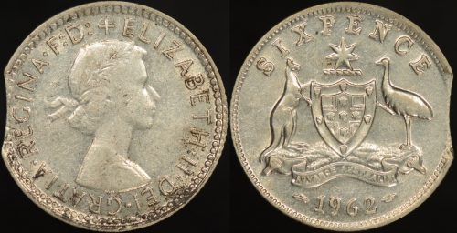 Australia 1962 6d curved clipped planchet error