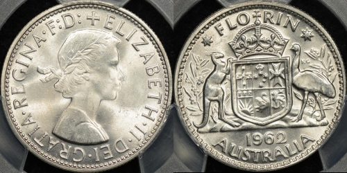 Australia 1962m florin 2s Choice Uncirculated PCGS MS64