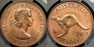 Australia 1962y penny 1d proof PCGS PR66rd red