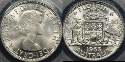 Australia 1963 florin 2s Choice Uncirculated PCGS MS64[9]