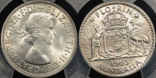 Australia 1963 florin 2s GEM Uncirculated PCGS MS65