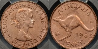 Australia 1963y penny 1d Choice Uncirculated PCGS MS64rb