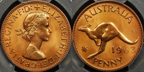 Australia 1963y penny 1d proof PCGS PR66rd red