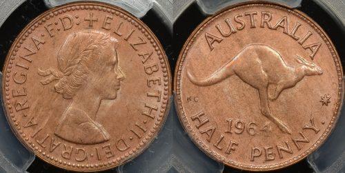 Australia 1964y half penny PCGS MS64rb