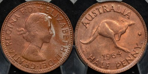 Australia 1964y halfpenny 1 2d Choice Uncirculated PCGS MS64rb