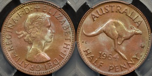 Australia 1964y halfpenny 1 2d GEM Uncirculated PCGS MS65rb