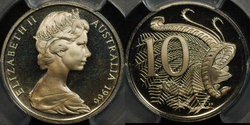 Australia 1966 10 cent proof afdc PCGS PR67 dcam