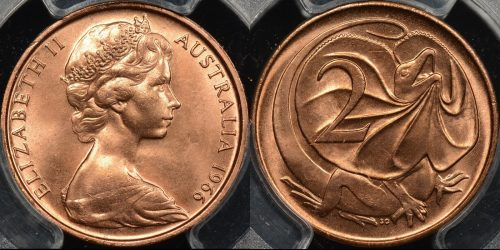 Australia 1966 2 cent GEM Uncirculated PCGS MS65rd