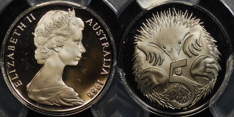 Australia 1966 5 cent proof afdc PCGS PR67 dcam