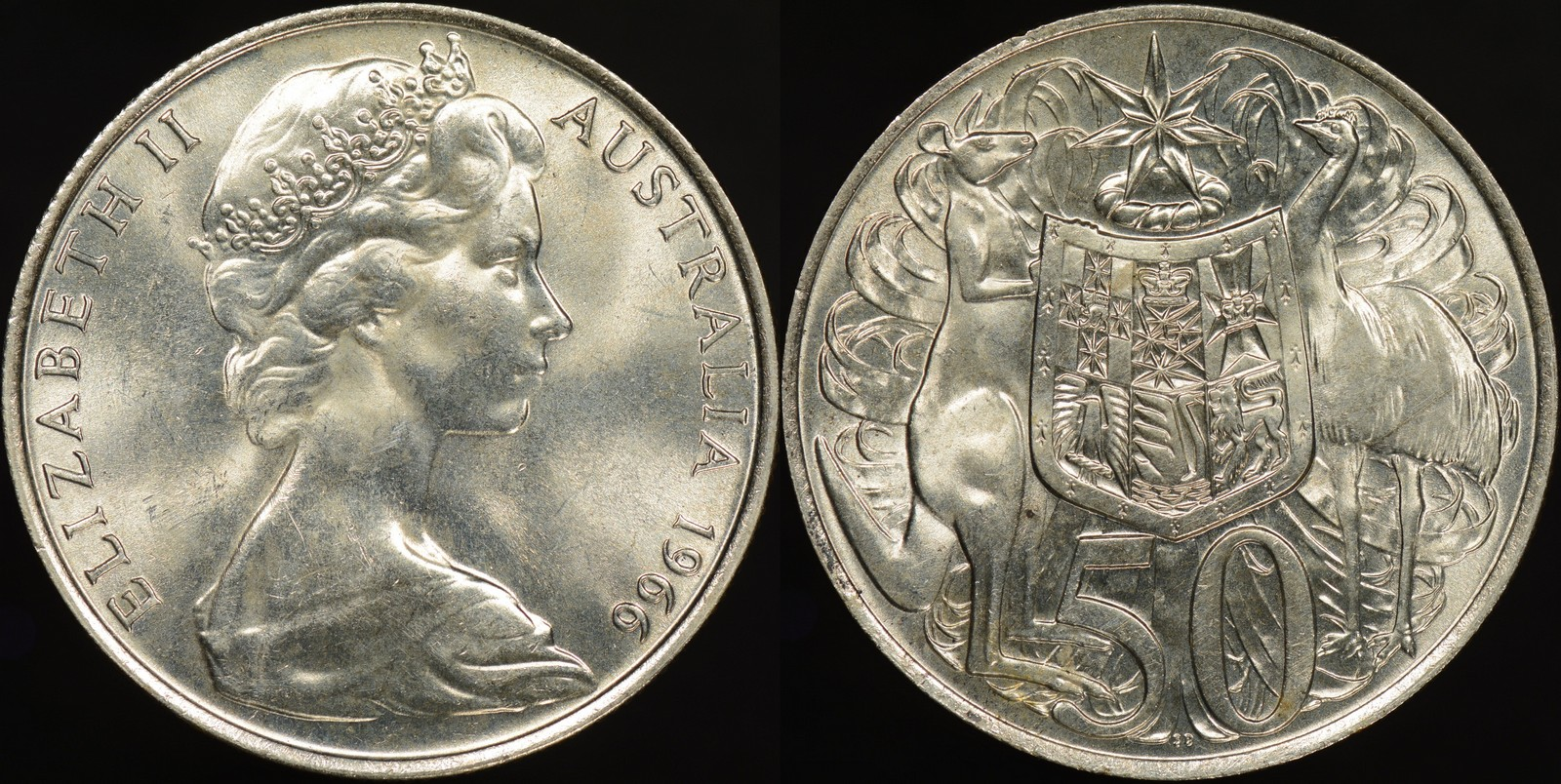 Australia Uncirculated 1966 Silver 50 Cent Coin Nice